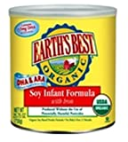 Earth's Best Organic Soy Infant Formula with Iron, ARA, & DHA, 25.75 Ounce Can
