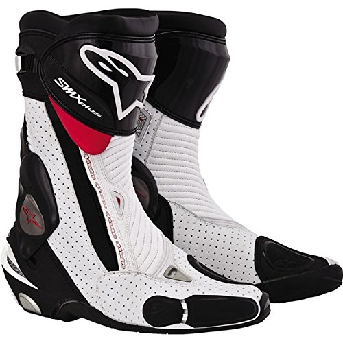 Alpinestars S-MX Plus Vented Men's Leather Street Motorcycle Boots - Black/White/Red / Size 44