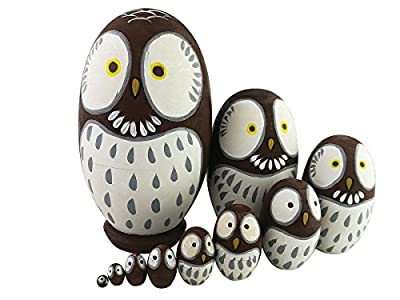 Adorable Animal Theme Big Round Eyes Brown Owl Egg Shape Wooden Handmade Russian Nesting Dolls Matryoshka Dolls Set 10 Pieces For Kids Toy Birthday Christmas Gift Home Kids Room Decoration