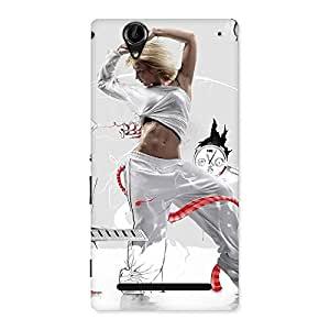 Luxirious White Dance Red Ribbon Back Case Cover for Sony Xperia T2