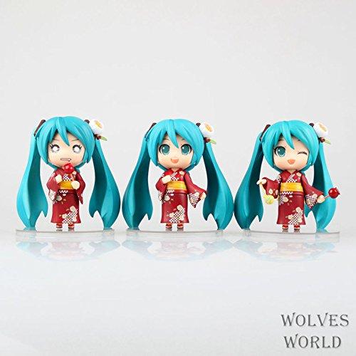 SunSlight 3pcs/Lot Japan Anime Figure Hatsune Miku Figure Yukata PVC Action Figure Juguetes Collection Model Toys Brinquedos