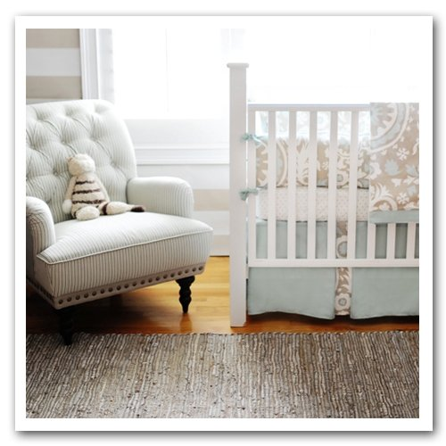New Arrivals Picket Fence 2 Piece Crib Bedding Set, Beige