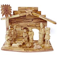 Olive Wood Nativity Set with Stable, 14 Pc