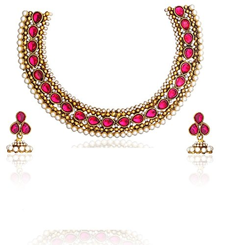 Zaveri Pearls Red Non-Precious Metal Choker Necklace With Earring For Women