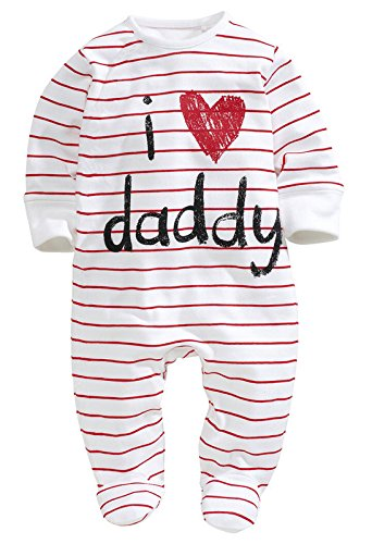 Baby Pure Cotton Long Sleeve Romper I love Mommy Daddy Onesies Jumpsuit (0-6Months, Daddy)