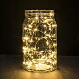 String Lights, 2 Set of Micro 30 LEDs Super Bright Warm White Color Wire Rope Lights Battery Operated on 9.8 Ft Long Copper Color Ultra Thin String Copper Wire F Home Bedroom Party Xmas Tree