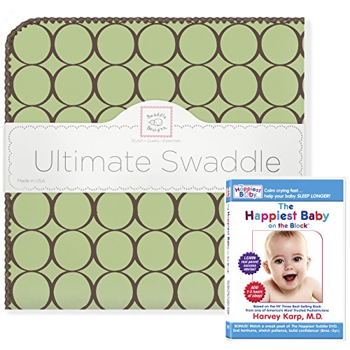 SwaddleDesigns Ultimate Swaddle Blanket Plus The Happiest Baby DVD Bundle, Brown Mod Circles, Lime