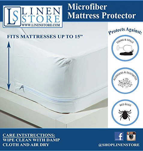 Purchase Microfiber Zippered Mattress Cover, Bed Bugs Shield, Dustmites Protector, Hypoallergenic (F...