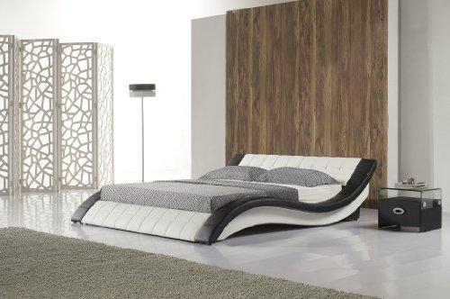 Polsterbett-R0WB-200x200-cm-Schwarz-Wei-aus-hochwertigem-Kunstleder