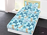 Bombay Dyeing Aira Cotton Single Bedsheet with 1 Pillow Cover - Blue