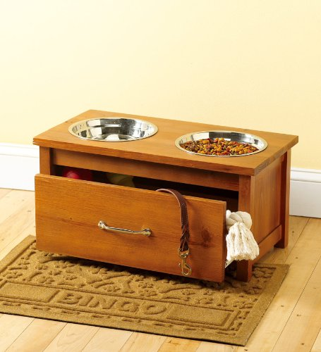 Superieur Raised Wooden Pet Feeder With Storage Drawer In Honey Pine