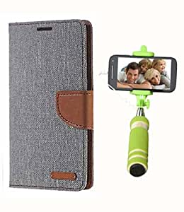 Aart Fancy Wallet Dairy Jeans Flip Case Cover for XperiaL39H (Grey) + Mini Fashionable Selfie Stick Compatible for all Mobiles Phones By Aart Store