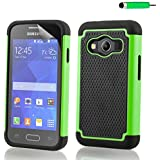 32nd® Shock proof rubber case cover for Samsung Galaxy Ace 4 SM-G357FZ + screen protector and cloth - Green