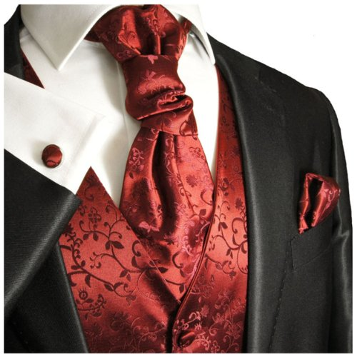 Burgundy Red Wedding Vest with Tie , Cravat, Pocket Square and Cufflinks