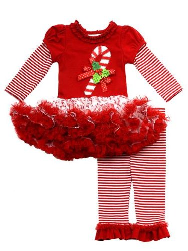 Rare Editions Girls Candy Cane Holiday Dress Outfit Leggings , Red , 18M