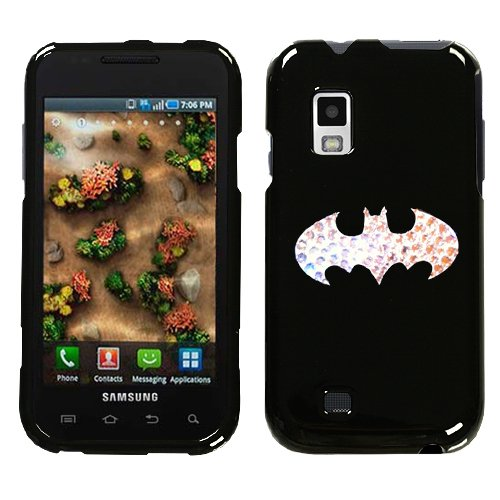  : SAMSUNG VERIZON ANDROID GALAXY S FASCINATE I500 HARD PLASTIC DESIGN BLACK AND WHITE BATMAN LOGO SWAROVSKI CRYSTAL DIAMOND SNAP ON CASE COVER