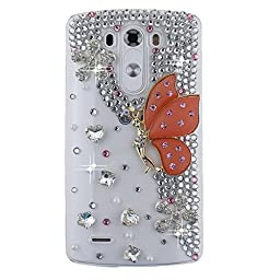 LG G Vista 2 Bling Case - Fairy Art Luxury 3D Sparkle Series Butterfly Fairy Flowers Crystal Design Back Cover with Soft Wallet Purse Red Cloth Pouch - Orange