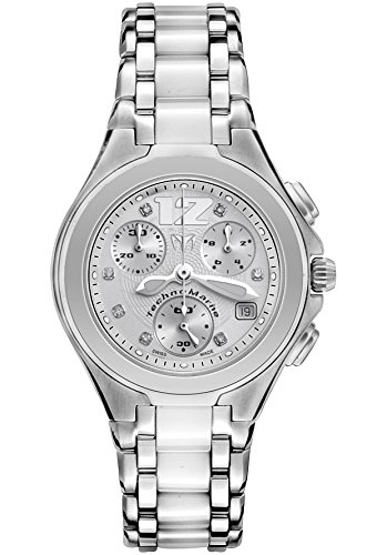 Technomarine Tlncwc55c Women's Neo Classic Chronograph Diamond (.05 Ctw), Stainless Steel And White Ceramic Watch (Technomarine Techno Diamond compare prices)
