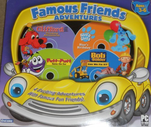 Famous Friends Adventures - Clifford The Big Red Dog: Thinking Adventures, Blue'S Clues: Blue'S Birthday, Putt-Putt Saves The Zoo, And Bob The Builder: Can We Fix It? front-811795