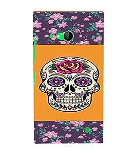 PrintVisa Girly Flower Skull Design 3D Hard Polycarbonate Designer Back Case Cover for Nokia Lumia 730
