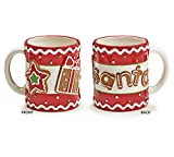 Gingerbread Joy Santa Ceramic Mug - Single Winter Xmas Holiday Drinking Cup