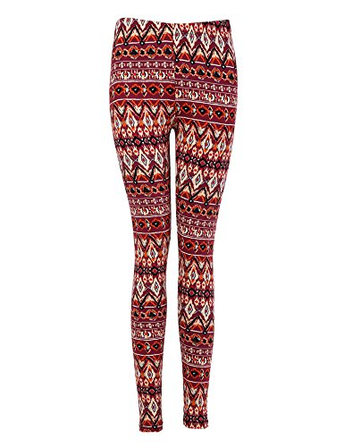 Bentibo Women's Fashion Floral Printed Spandex Leggings Skinny Pants Red L