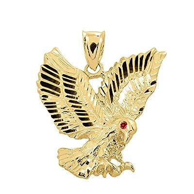 High Polish 14k Rose Gold Landing Eagle Necklace Pendant