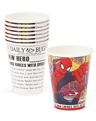 American Greetings Spider-Man 9 oz. Paper Party Cups, 8 Count, Party Supplies Novelty