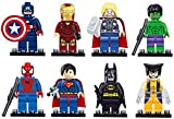 Benjour Iron Man Spiderman Superman Batman Hulk Wolverine 8 Mini Figures Set Lego Fit Free, Colorful