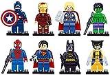 Benjour Iron Man Spiderman Superman Batman Hulk Wolverine 8 Mini Figures Set Lego Fit Free, Colorful