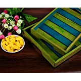 Craftbell Elegant Green & Blue Coloured Wooden Serving Tray Set-For Kitchen & Dining Ware