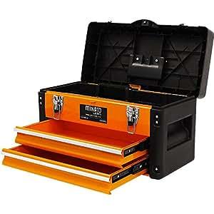 ミナトワークス 3段式ツールボックス オレンジ (引き出し付き/最大荷重35kg) TB-30(OG)