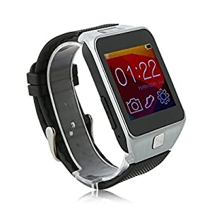Develop 2015 New V8 Smartwatch Bluetooth 4.0 Sync Call SMS MP3 Pedometer Sleep Monitor Men Watches Remote Camera for for Android Smart Phone (Full Function) and Apple iPhone (Part of the function ) Silver Color