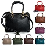 Big Handbag Shop Womens Designer Faux Leather Top Handle Gold Trim Satchel Bag
