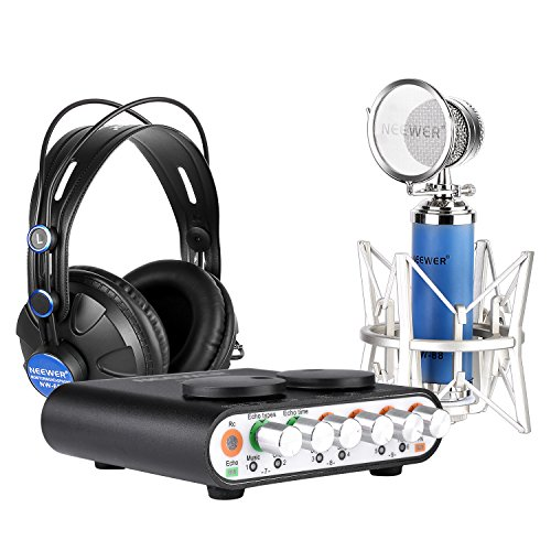 Neewer-Professional-Microphone-kit-for-Youtube-KaraokePersonal-Recording-or-moreincludes1Sound-Card1Microphone1High-Quality-Headphone1USB-Cable1Microphone-Cable