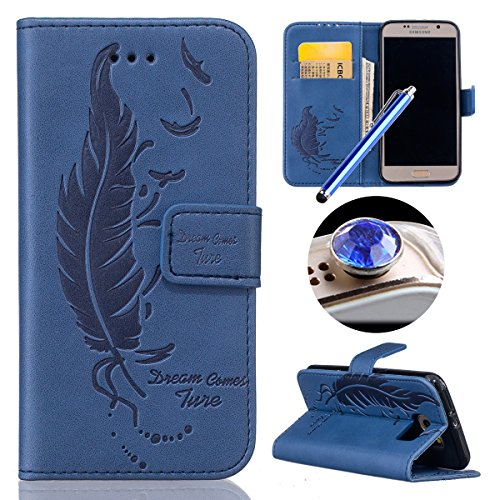 Galaxy S6 Wallet Case,Samsung Galaxy S6 Feather Case,Etsue Retro Pressed Feather Pu Leather Wallet Leaf Pattern Protective Case Cover with Stand for Samsung Galaxy S6+Blue Stylus Pen+Bling Glitter Diamond Dust Plug(Colors Random)-Feather,Blue
