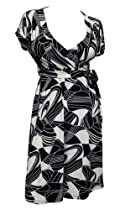 eVogues Plus size Abstract Print Deep V-Neck Dress Black - 3X