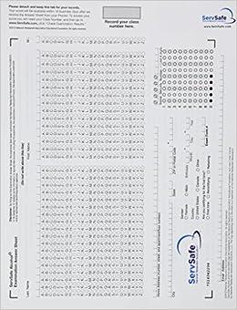 Exam Answer Sheet for ServSafe Alcohol: Fundamentals of ...