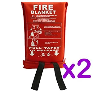 PACK OF 2 - 1M x 1M FIRE SAFETY SECURITY BLANKET - FIRE EXTINGUISHER - QUICK RELEASE FIGHTING TABS - MADE FROM 100% GLASS FABRIC - IDEAL FOR HOUSEHOLD KITCHEN, HOMES, GARAGES, CARAVANS, OFFICES ETC