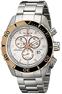 Invicta Pro Diver Men's Quartz Watch with Silver Dial Chronograph Display and Silver Stainless Steel Bracelet 12859