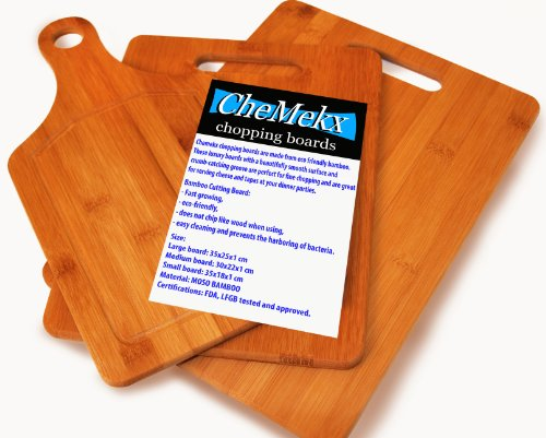 Bamboo Chopping Boards 3 In 1 Set 100% Natural Eco Friendly Luxury 3 Piece Carving And Cheese Boards For Home And Kitchen Best Cheap Cutting Boards Material Recommended By Chef'S Natural Bacteria Repellant Better Quality Than Wood Lifetime Guarantee