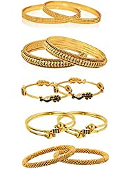 Zeneme Combo Of Designer Victoria Bangles, Pearls Bangles, Trendy Gold Plated And Coinage Bangles - Pack Of 10