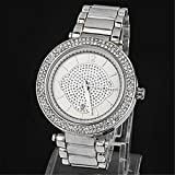 Best Brand New Silver Geneva Alloy Double Rhinestone Luxury Fashion Women's Watch thumbnail
