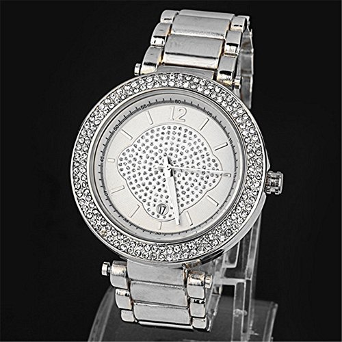 Best Brand New Silver Geneva Alloy Double Rhinestone Luxury Fashion Women's Watch image
