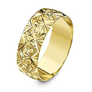 Theia 9ct Yellow Gold - Heavy Weight D Shape with Diamond Like Design 7mm Wedding Ring - Size V