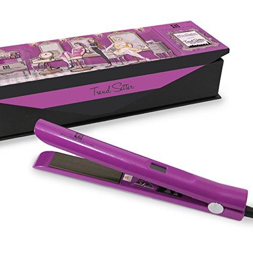 Brilliance New York Pro Flat Iron/Hair Straightener 1″ Diamond Titanium Plates Purple Life Time Warranty (Diamond New York compare prices)