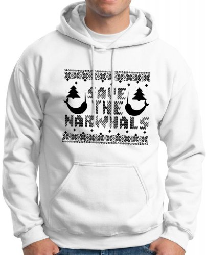 Save The Narwhals Faux Ugly Christmas Sweater Hoodie Sweatshirt Medium White
