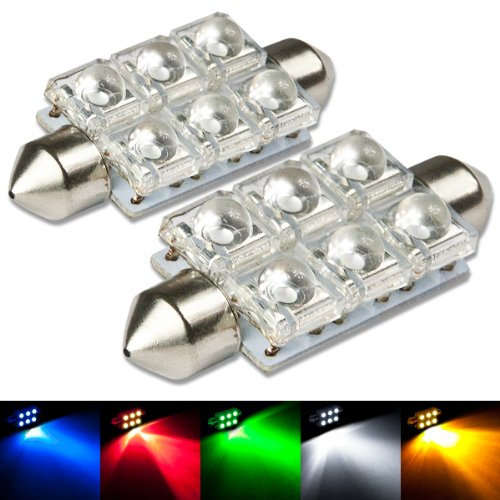 Auto Dynasty 11Mm X 41Mm With 6 X Super Flux Led Festoon Blue Light Bulb Pack Of 2