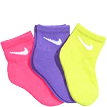 Nike Kids Girls 3 Pack Neon Quarter Cut Socks Assorted, 13-3 Shoe/ 6-7 Sock (Toddler/Kids)