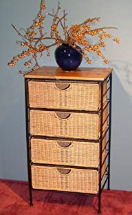 Four Drawer Hand Crafted Wicker/Metal Storage Chest